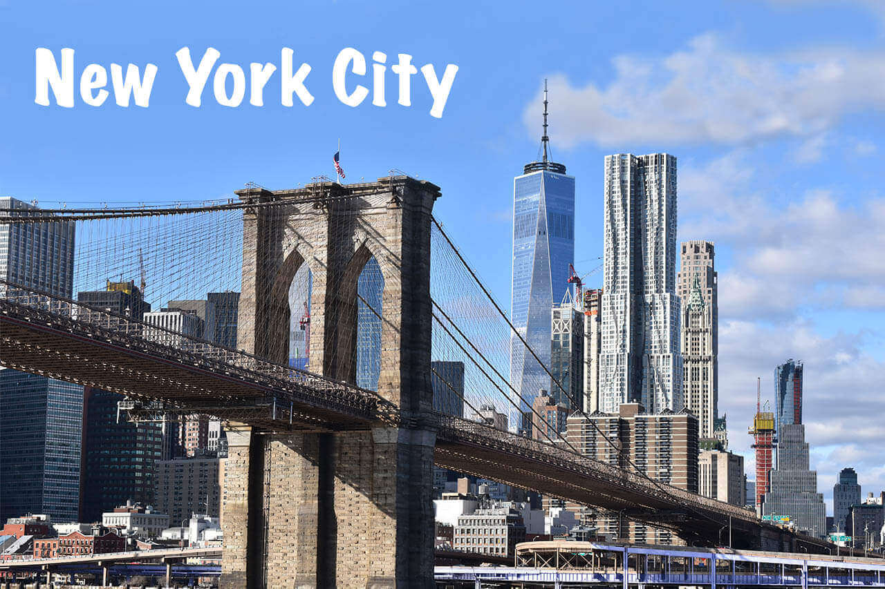 New York City Brooklyn Bridge with text