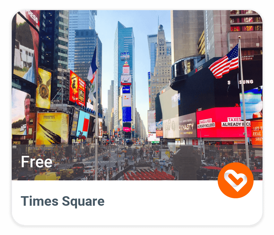 Times Square with price and description