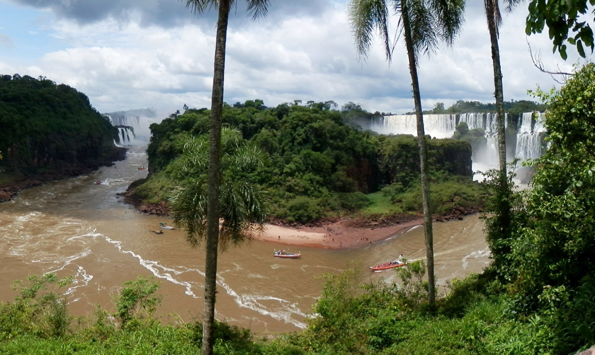 Panorama of Iguazu Falls in Argentina and Brazil
