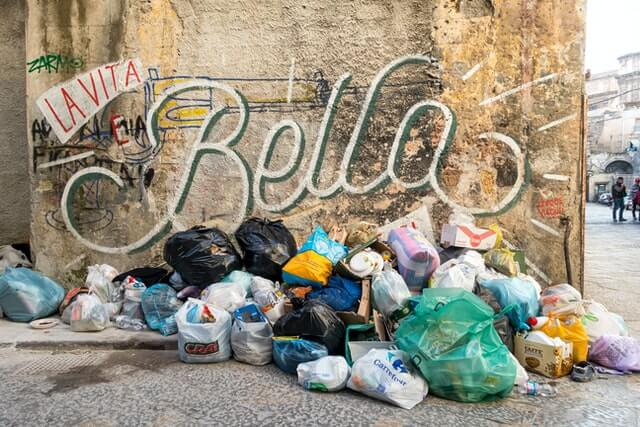 Garbage on the street corner in Sicily.