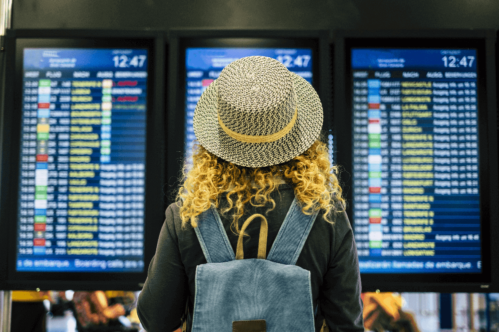 Woman looking for departure