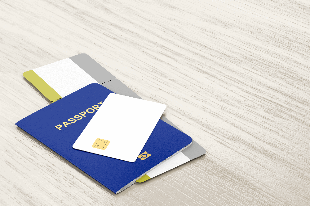 Passport, credit card and boarding pass